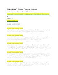 FIN 650 GC Entire Course Latest