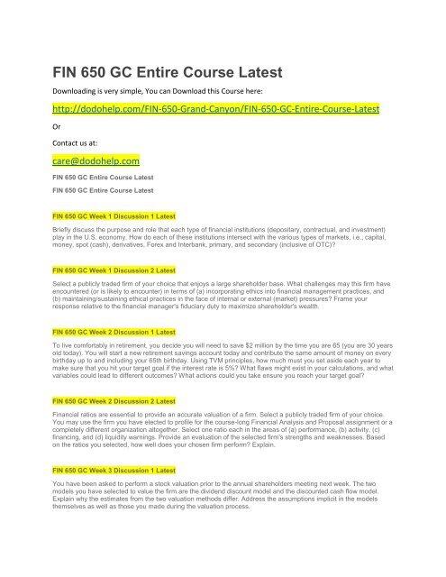 FIN 650 GC Entire Course Latest