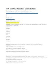 FIN 650 GC Module 3 Exam Latest