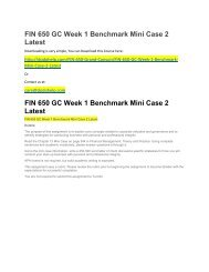 FIN 650 GC Week 1 Benchmark Mini Case 2 Latest