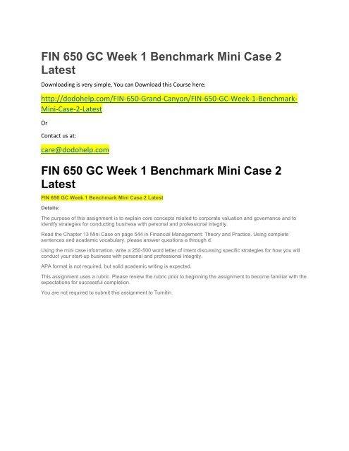 FIN 650 GC Week 1 Benchmark Mini Case 2 Latest