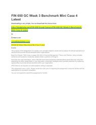 FIN 650 GC Week 3 Benchmark Mini Case 4 Latest