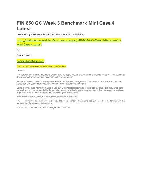 FIN 650 GC Week 3 Benchmark Mini Case 4 Latest