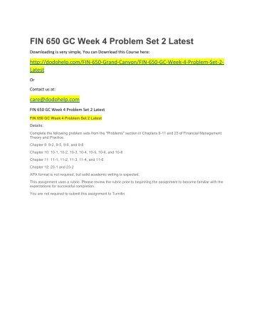 FIN 650 GC Week 4 Problem Set 2 Latest