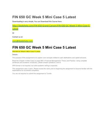 FIN 650 GC Week 5 Mini Case 5 Latest