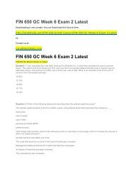 FIN 650 GC Week 6 Exam 2 Latest