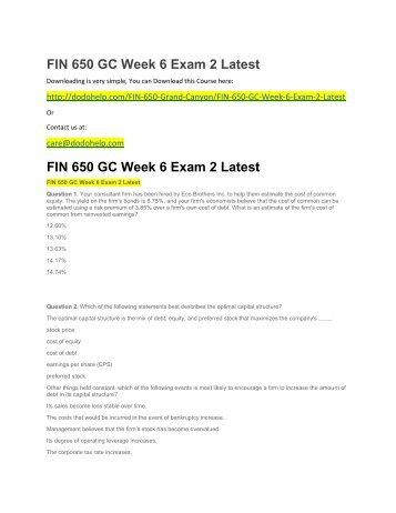 FIN 650 GC Week 6 Exam 2 Latest