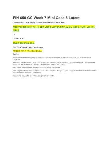 FIN 650 GC Week 7 Mini Case 8 Latest