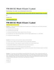 FIN 650 GC Week 8 Exam 3 Latest
