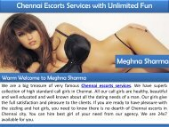 Chennai Escorts Services with Unlimited Fun