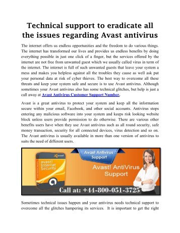 Avast Antivirus Technical Support Number UK