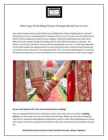 What Type Of Wedding Planner Package Should You Go For