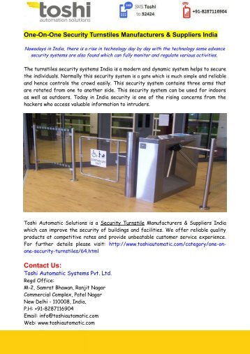 One-On-One Security Turnstiles Manufacturers & Suppliers India
