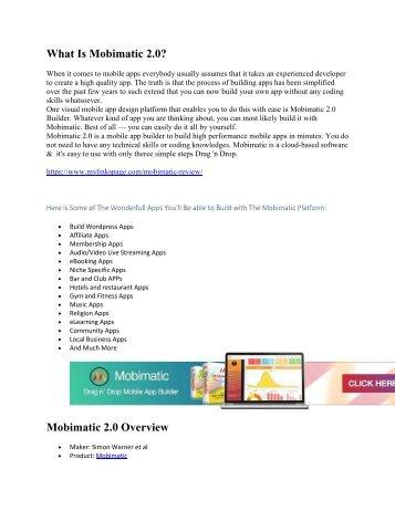 Mobimatic 2.0 Review and Big Bonus