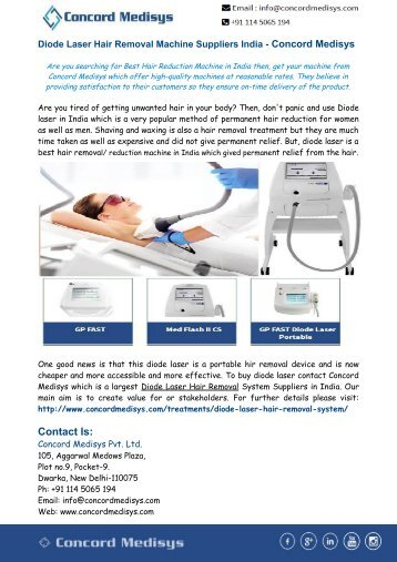 Diode Laser Hair Removal Machine Suppliers India - Concord Medisys