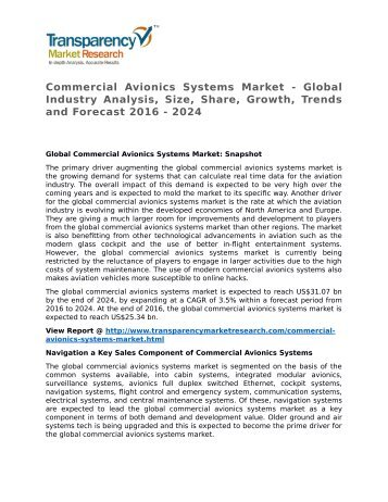 Commercial Avionics Systems Market - Global Industry Analysis, Size, Share, Growth, Trends and Forecast 2016 - 2024