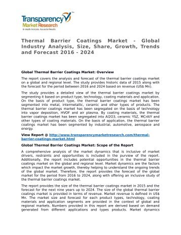 Thermal Barrier Coatings Market - Global Industry Analysis, Size, Share, Growth, Trends and Forecast 2016 - 2024