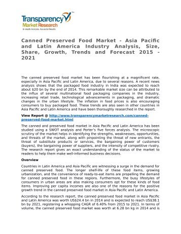 Canned Preserved Food Market SWOT Analysis Of Top Key Player Forecasts To 2021