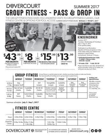 Dovercourt Summer 2017 Group Fitness flyer