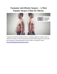 Tasmania Anti-Obesity Surgery – A Most Popular Surgery Clinic for Obesity