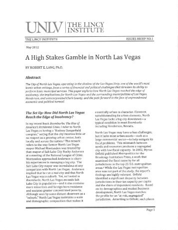 Dr. Robert Lang UNLV Lincy Institute Study - City of North Las Vegas
