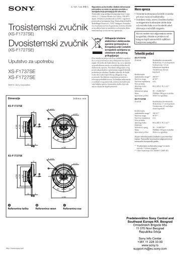 Sony XS-F1737SE - XS-F1737SE Istruzioni per l'uso Serbo