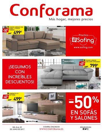 CONFORAMA hasta 50% en sofas y salones HASTA EL 29 DE JUNIO 2017