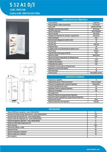 KitchenAid S 12 A1 D/I - S 12 A1 D/I IT (F093708) Informations produit