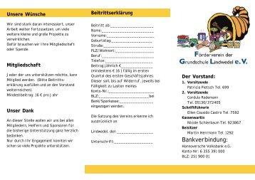 Infoblatt mit Beitrittserklärung 2006 - Grundschule Lindwedel