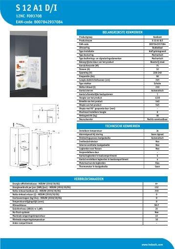 KitchenAid S 12 A1 D/I - S 12 A1 D/I NL (F093708) Informations produit