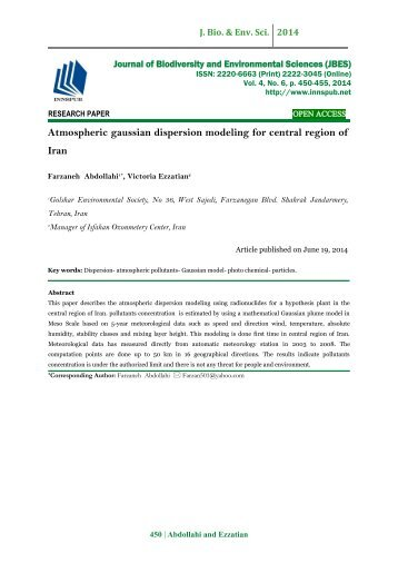 Atmospheric gaussian dispersion modeling for central region of Iran