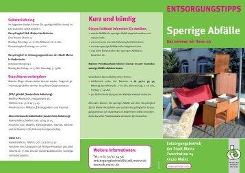 Sperrige Abfälle ENTSORGUNGSTIPPS - Entsorgungsbetrieb der ...