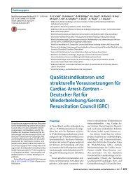 08 Qualitätsindikatoren und strukturelle Voraussetzungen für Cardiac-Arrest-Zentren