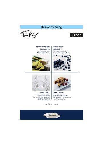 KitchenAid JT 355 WH - JT 355 WH SV (858735515290) Istruzioni per l'Uso