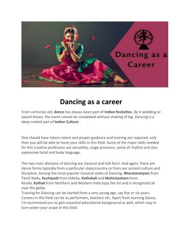 Dancing as a Career