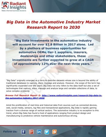 Big Data in the Automotive Industry Share, Trends and Growth to 2030 by Radiant Insights,Inc