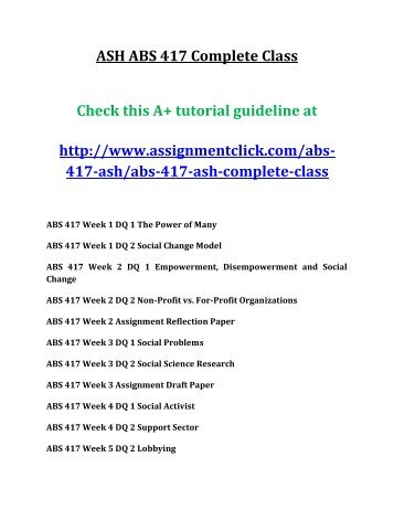 ASH ABS 417 Complete Class