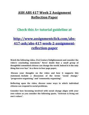 ASH ABS 417 Week 2 Assignment Reflection Paper