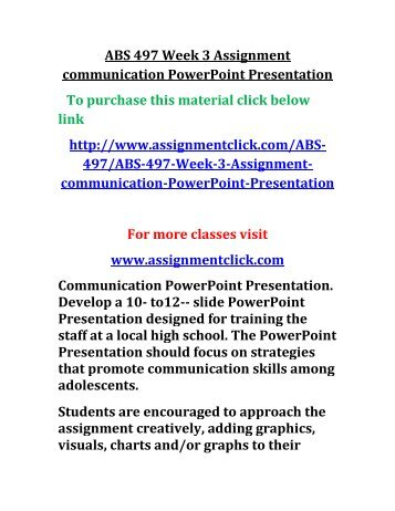 ABS 497 Week 3 Assignment communication PowerPoint Presentation