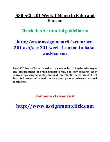 ASH ACC 201 Week 4 Memo to Baku and Hanson