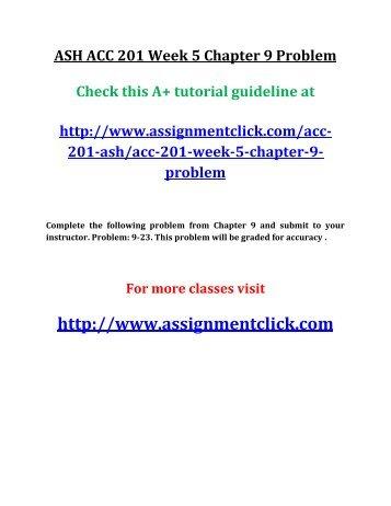 ASH ACC 201 Week 5 Chapter 9 Problem