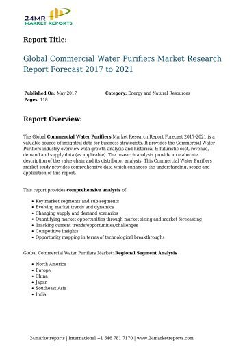Global Commercial Water Purifiers Market Research Report Forecast 2017 to 2021