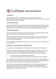 Datenschutzerklärung - WhoFinance