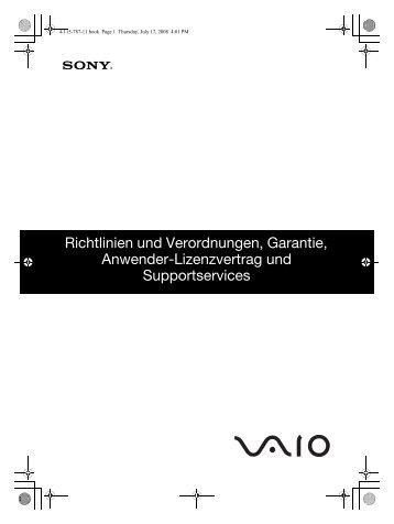 Sony VGN-AW1RXU - VGN-AW1RXU Documents de garantie Allemand
