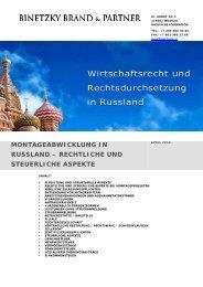 montageabwicklung in russland – rechtliche und steuerliche aspekte