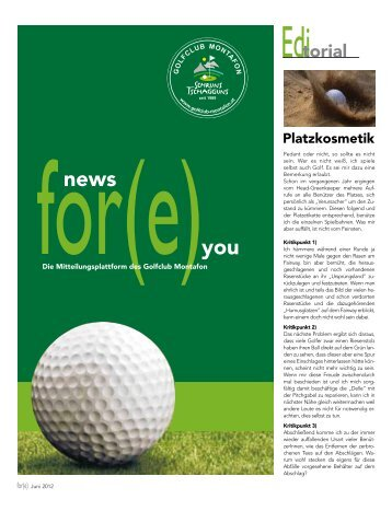 News for(e) you – Juni 2012 - Golfclub Montafon