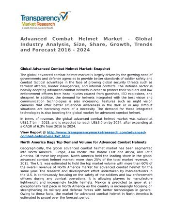 Advanced Combat Helmet Market - Global Industry Analysis, Size, Share, Growth, Trends and Forecast 2016 - 2024