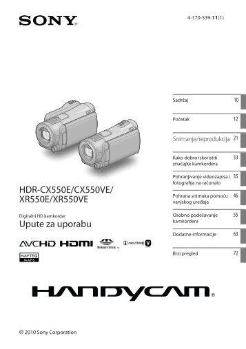 Sony HDR-XR550E - HDR-XR550E Mode d'emploi Croate