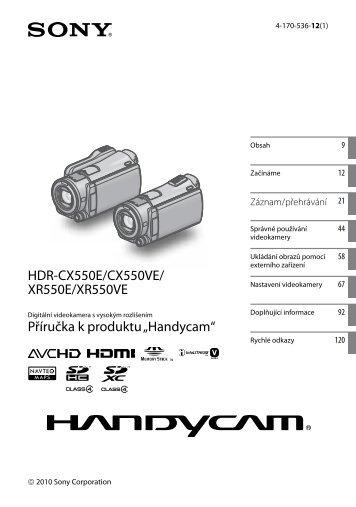 Sony HDR-XR550E - HDR-XR550E Consignes d'utilisation Tchèque