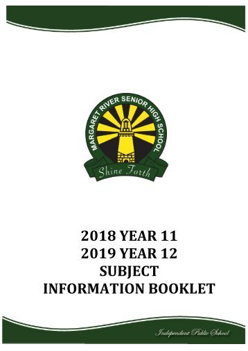 2018 Upperschool Selection Booklet